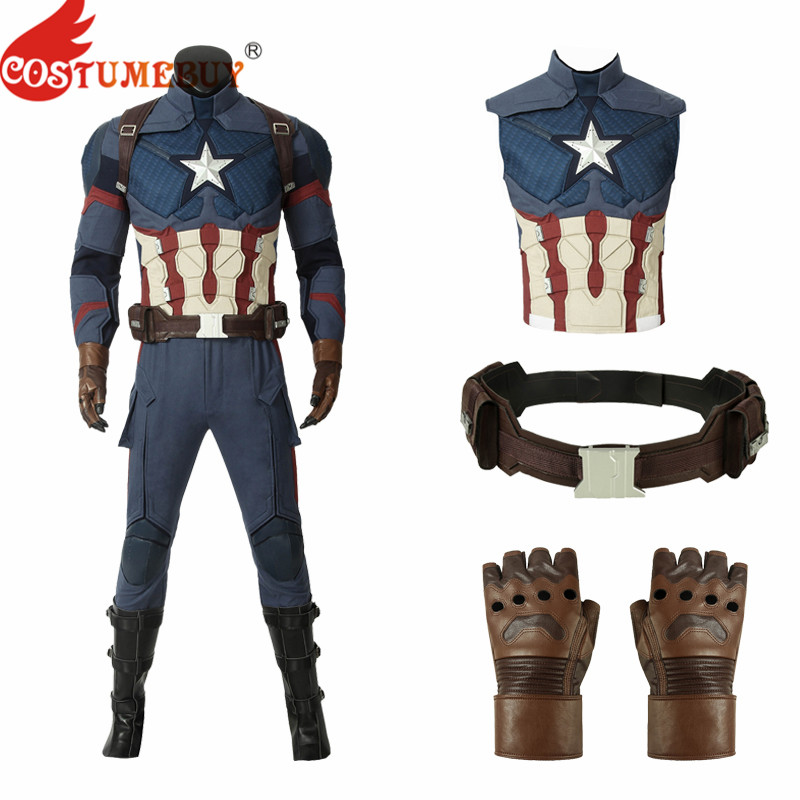 CostumeBuy Avengers: Endgame Steven Rogers Captain America Cosplay Props Leather Cycling Gloves Waist Belt Leg Guard Accessories