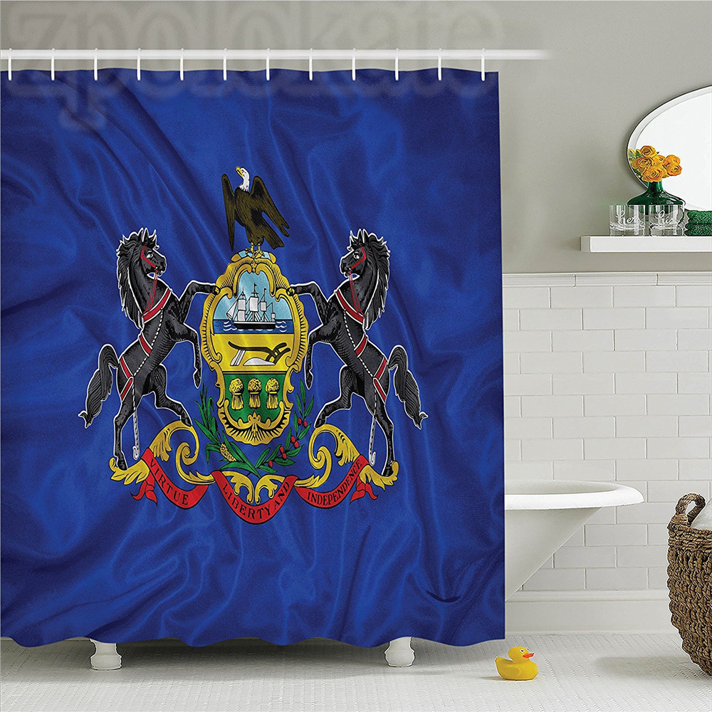 American Pennsylvania Flag Sheaves of Wheat State Coat of Arms Wavy Symbol Patriotic Picture Polyester Bathroom Shower Curtain S