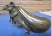 ORIENTAL HANDWORK CARVING Lucky mouse bronze Statues  wedding copper Decoration real Brass