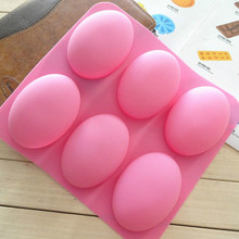 DIY 6 Slots Cake Mold Tool 3D Oval Goose Eggs Shape Silicone Soap Mould Handmade Chocolate Pudding Jelly Candy Cookie Mold 6 cavities 12 1mm bic two color aluminum alloy lipstick mold 6 slots holes waterdrop teardrop shape lipbalm fill mold diy