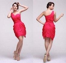 2015 New Design Couture One Shoulder High/Low Chiffon Bridesmaid Dress Juniors Wedding Guest Dresses Vestido De Festa