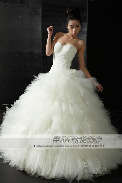 free shipping cute cathedral wedding gowns Gauze beading net 501 800 ...