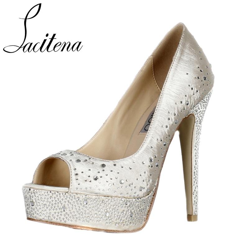 Beige Rhinestone Diamond High Heels Shoes Elegant Bridal