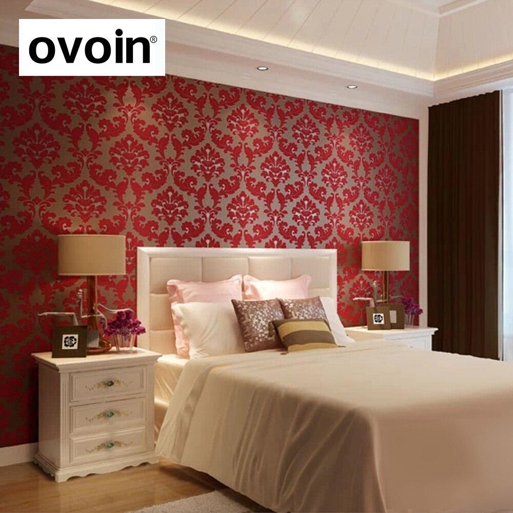 Red Wallpaper For Bedroom Online Buy Wholesale Red Flocked Wallpaper From China Red Flocked
