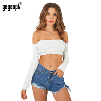 Gagaopt Long Sleeve Tank Top 2016 Sexy Off Shoulder Party Bustier Crop Top Elastic Summer Beach