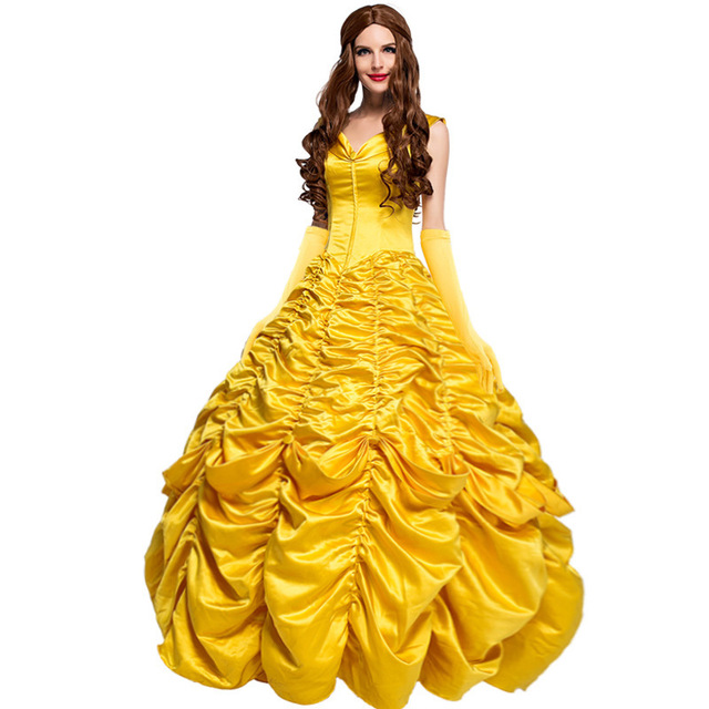 2017 princess belle beauty and the beast dress adult costume yellow halloween costumes for women. Black Bedroom Furniture Sets. Home Design Ideas