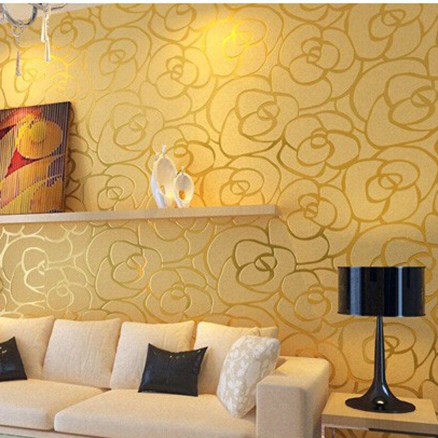 Online Shop Photo Murals Background Wall Modern Velvet Gold Roses