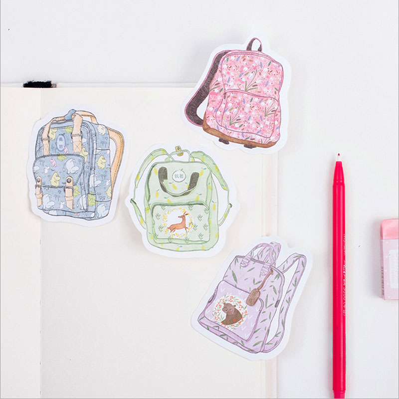 1X DIY Creative schoolbag backpack Memo Pad Sticky Note Kawaii Paper Sticker Pads Post Note Creative Korean Stationery