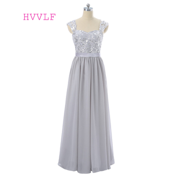 Silver 2019 Cheap Bridesmaid Dresses Under 50 A-line Cap Sleeves Chiffon Sequins See Through Long Wedding Party Dresses