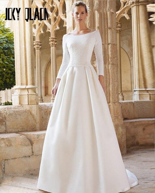 Joky Quaon Long Sleeve Beaded Bodice White Satin Skirt Wedding Dress 2017 High Quality Exquisite Bride Dresses Vestidos Novia
