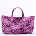 Celebrity Ladies Fade Color Woven Leather Handbag Gradient Large Handle Bag Cross Stitch Knitting Woman Casual Tote