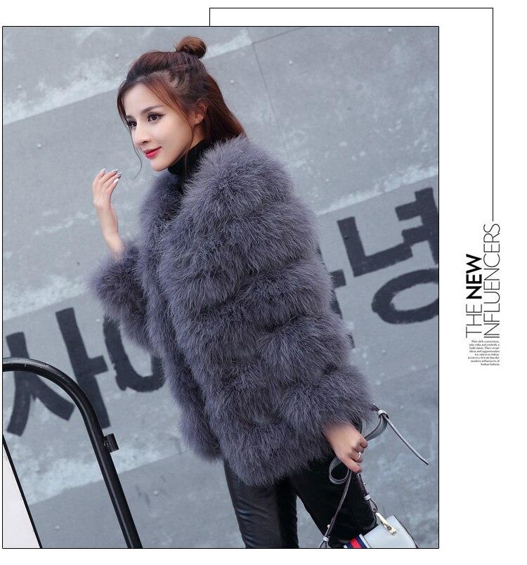 Fur Piel Turquía 2018 De Moda Chaqueta Yangrey Ksr113 Fábrica Lujo Natural Puro Abrigo Real Llegada Nueva Avestruz purplegrey Venta Caliente xBqX77