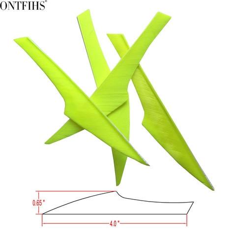 100 pcs ontfihs seta pena 4 polegadas fetches caca flecha acessorios de tiro com arco