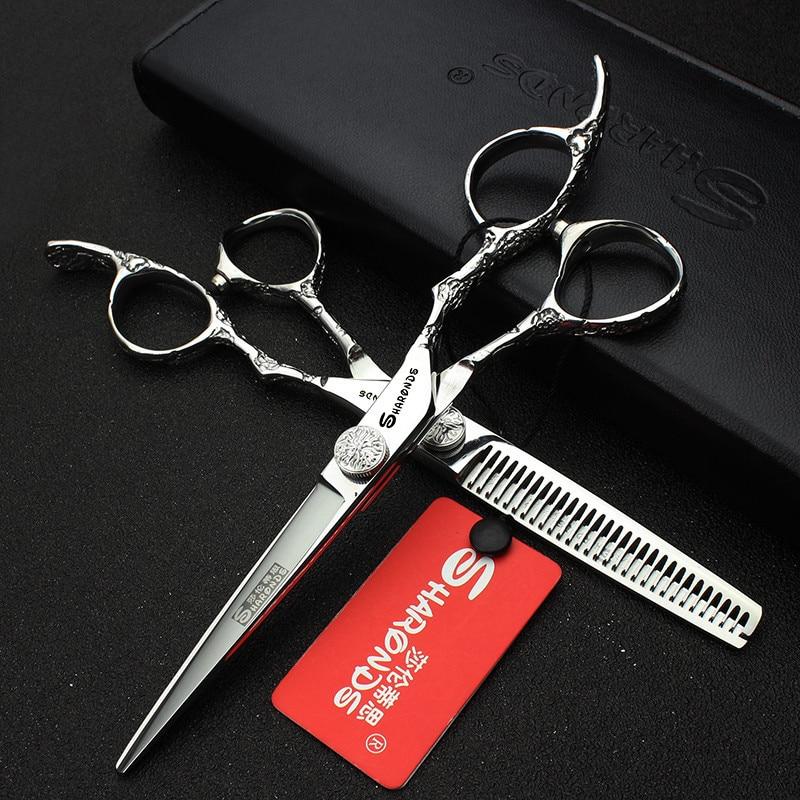 Sharons 6,0-tums professionell frisör sax rak och tunna sax salong hår sax gjord av 440c gratis leverans