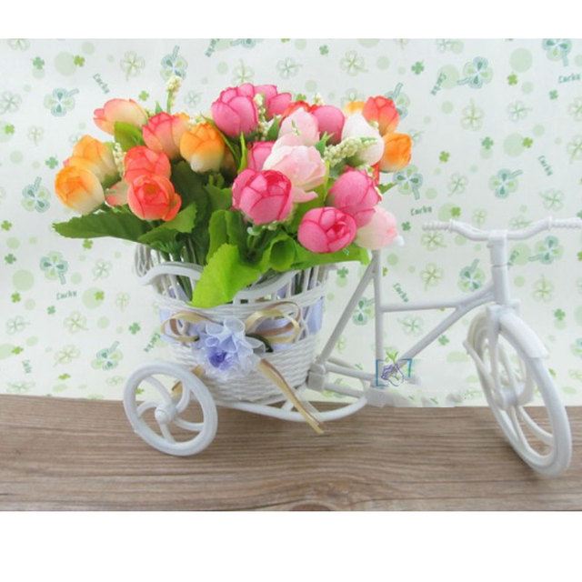 Wedding party decoration white plastic tricycle bike flower pot wedding party decoration white plastic tricycle bike flower pot container flower basket diy artificial flowers decorative mightylinksfo