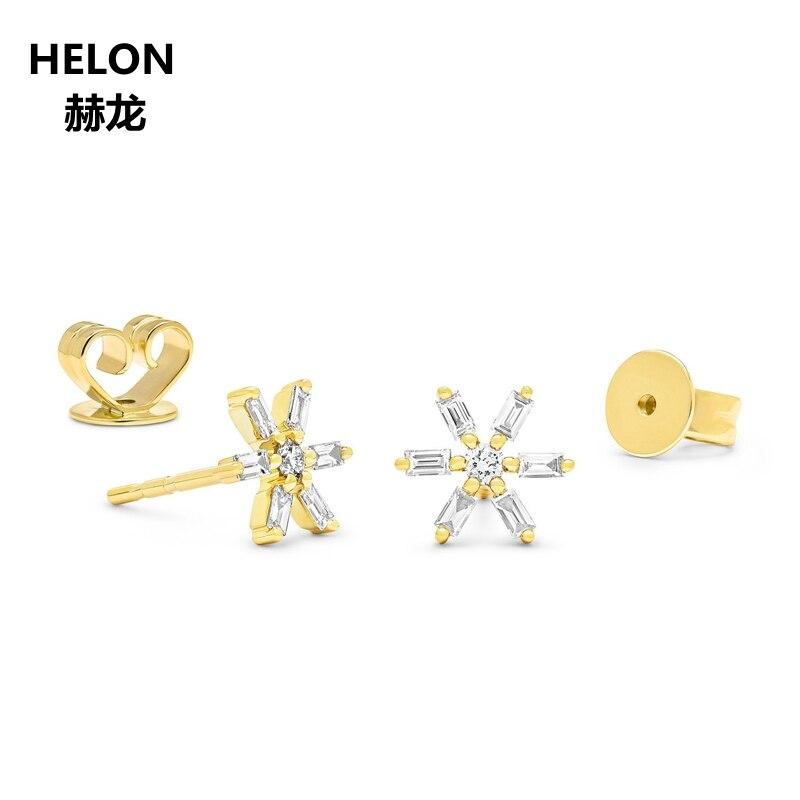 Diamantes Baguetes e Redondo Brincos Sólido 0.18ct 14 k Mulheres Ouro Amarelo Do Floco De Neve Brincos de Ouro Rosa de Ouro Branco Opcional