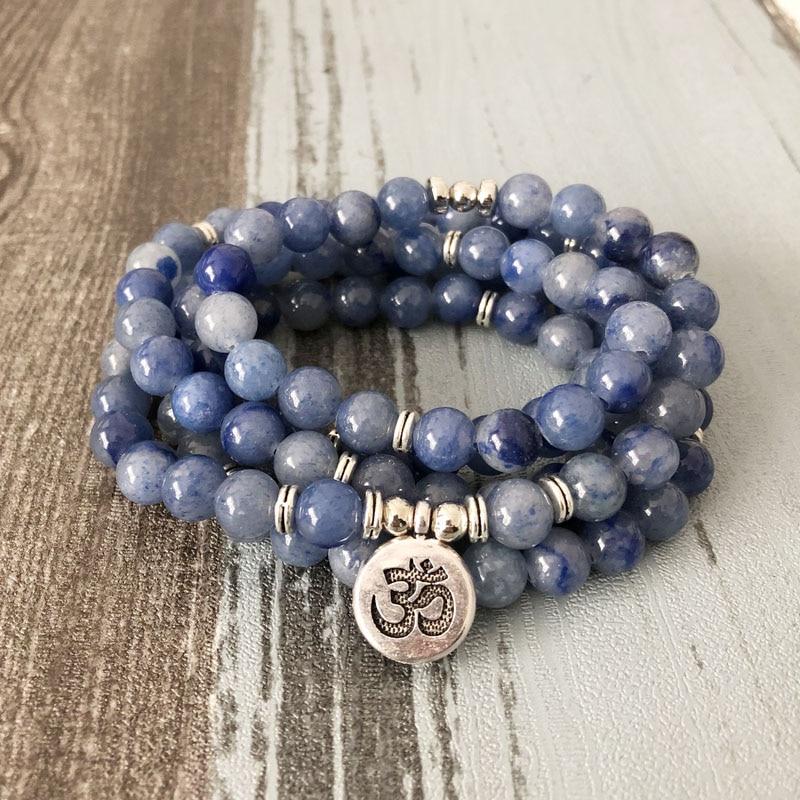 Sweet-Tempered Unisex 108 Mala Beaded Bracelet Lotus Prayer Beads Wrist Blue Aventurine Wrapped Bracelet For Man Om Yoga Bracelets