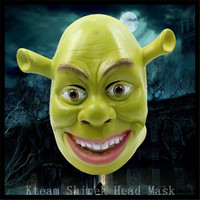 Top Grade Party Cosplay Movie Green Shrek Latex Masks Film Cosplay Prop Adult Animal Party Carton Head Mask for Halloween COS