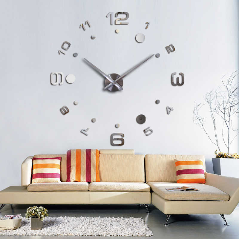 Fashion Diy 3d Wall Clock Design Acrylic Mirror Clocks Europe  Stickers Large Decorative Mounted House Clock On The Wall