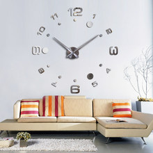 Fashion Diy 3d Wall Clock Design Acrylic Mirror Clocks Europe Stickers Large Decorative Mounted House Clock On The Wall(China)