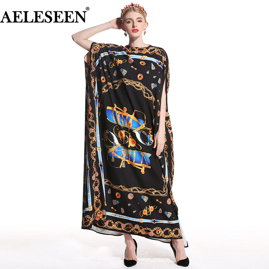 Vintage Loose Gothic Dresses Fashion Women Cloak Sleeve 2019 Print Black Belt Summer Runway Muslim Ethnic