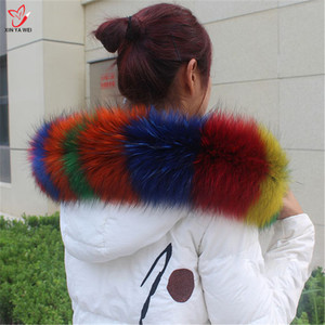 Image 3 - Natural Fur Collar Shawl Sweater Coat Collar Scarves Luxury Fur Raccoon Neck Cap Winter Real Fur Collar And Scarves women scarf