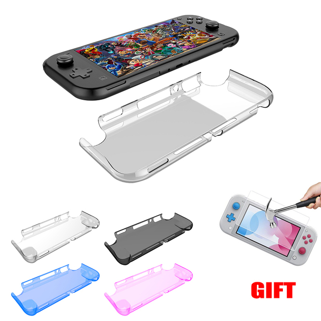 For Nintendo Switch Lite Crystal PC Transparent Case For nintend switch mini Protection Cover shell with Tempered glass
