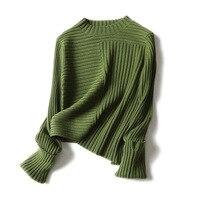 Высокое качество шерстяной кашемировый свитер зимний женский модный однотонный вязаный свитер Топы женские