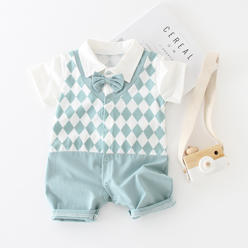 New Baby Boy   Romper   Short Sleeve Cotton Jumpsuit Gentleman Bow Tie Baby   Rompers   Geometric Overalls Newborn Baby Clothing