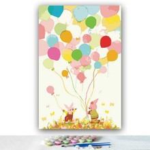 DIY colorings pictures by numbers with colors Colorful balloon piglets picture drawing painting framed Home
