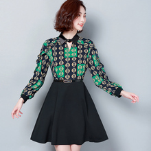 Fake two pieces plus size fashion spring 2019 new print chiffon dress shirt splice flower bottom women clothing blusas 881i3