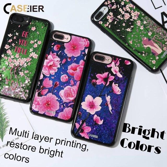 CASEIER Liquid Glitter Sand Phone Case For iPhone 6 6s Quicksand 3D Relief Cover For iPhone 7 8 Plus X  Funda Capinha
