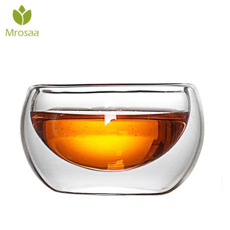 Taza de té de vidrio transparente elegante de 50 ML resistente al calor de doble capa de pared 2019 estilo chino superventas luces decorativas de alta vendimia lámpara de queroseno de cristal de cerámica china candelabros de Camping hogar