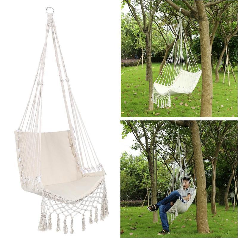 New Single-person Beige Hammocks Garden Dormitory Bedroom Hanging Swinging Safe Outdoor Indoor Indoor Adult