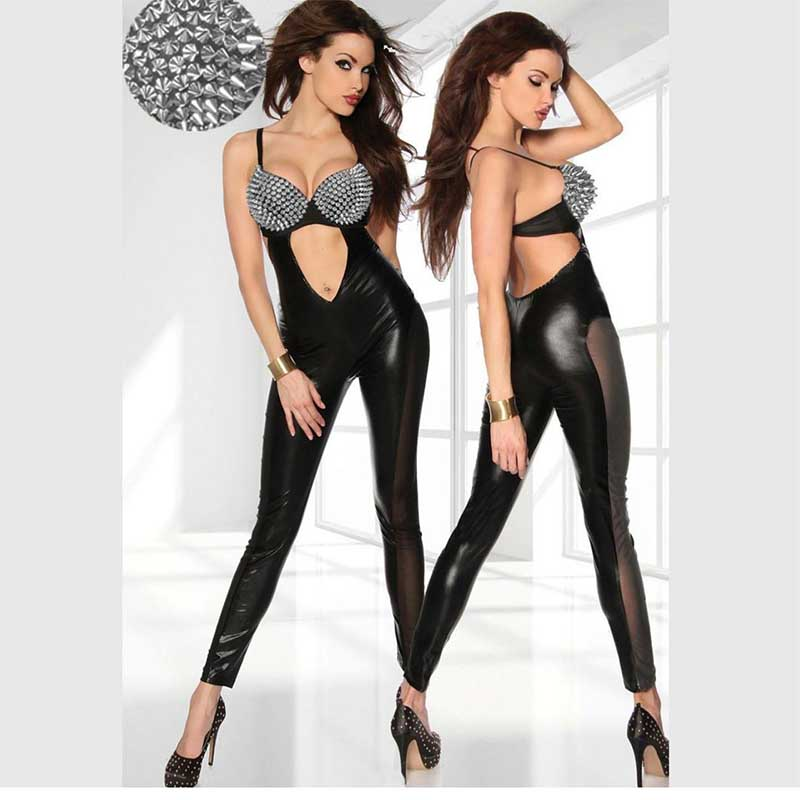 Buy New Arrival Sexy Gothic Steamfunk Black Latex Catsuit Faux Leather Costume PU Jumpsuit PVC club jumpsuit sexy playsuit W7713