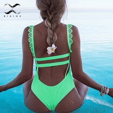 Bikinx Lace bodysuit pink ruffled bikinis 2018 mujer Push up swimsuit girls bandage swimwear women Summer bathing suit bathers(China)