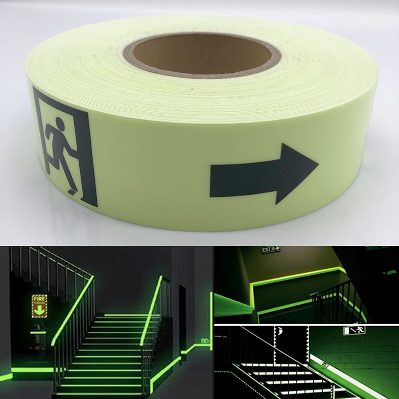 5cmx5m Waterproof Photoluminescent PET Sign Exit Sign Glow Tape