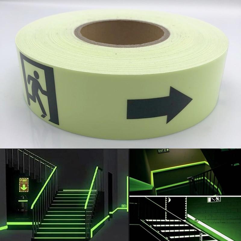 5cmx5m Waterproof Photoluminescent PET Sign Exit Sign Glow Tape