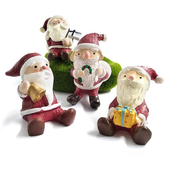 Happy Christmas Decoration Sant Claus Miniature Figurine Home Decoration Fairy  Garden Statue Resin Craft Toy Ornaments