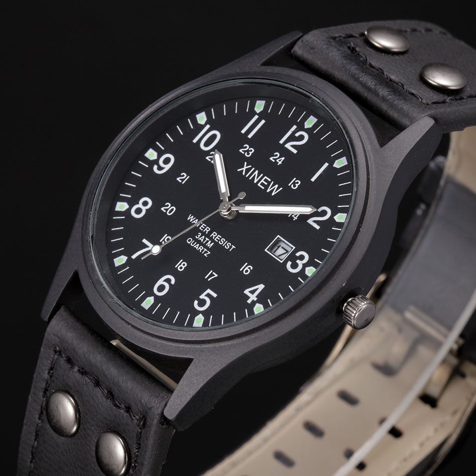 XINEW Mens Watches Top Brand Design Military Watches Luminous Large Dial Casual Quartz Watch with Calendar