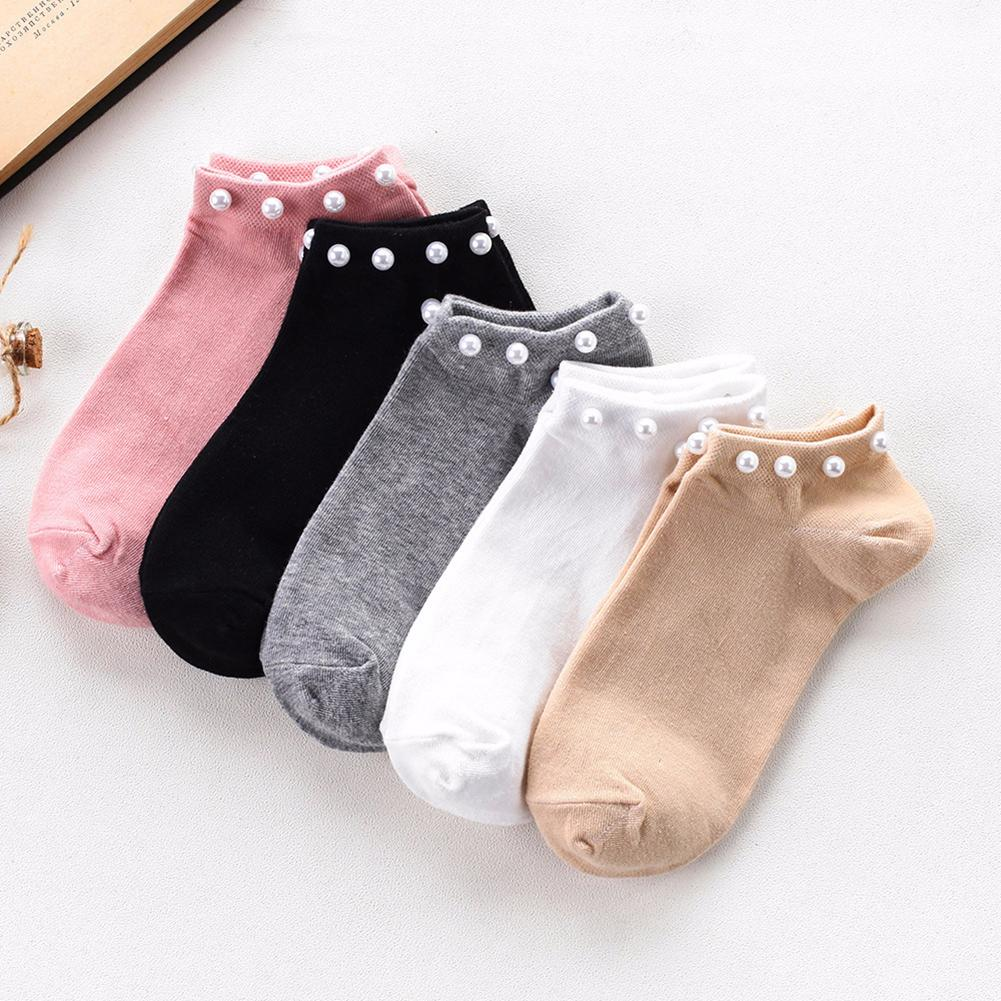 Women's Solid Color Faux Pearl Beading Breathable Cotton Low Cut Ankle   Socks