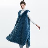 Real Fox Fur Vest Women Autumn New Ladies Genuine Fox Fur Strip Sewed Together Female Fur Sweater Long Women Real Fox Fur Gilet