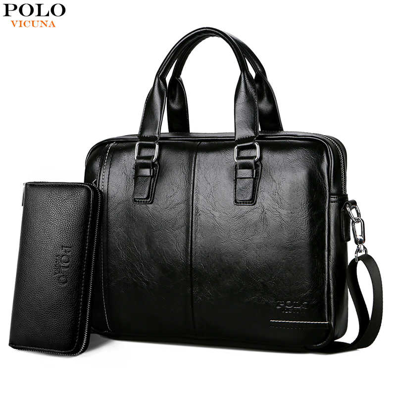 02c1bfddc919 VICUNA POLO Famous Brand Mens Leather Laptop Bag Business Office Bags For  Men Briefcase Handbag Solid