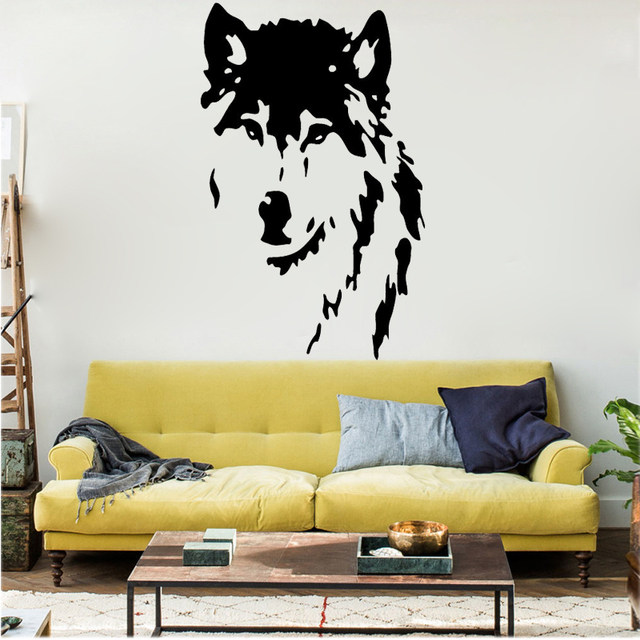 Online Shop QT024 Wolf Wall Decals home decor Removable Vinyl wall ...