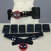 Halloween Deadpool Belt Buckle with belt and 6 belt pouches cosplay costume accessories adjustable