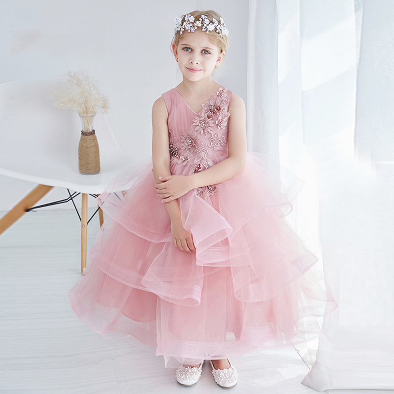 Beautiful Pink Flower Girl Dresses Summer 2017 New Design V Neck Girls Dress for Party Tiered Lace wedding dress Kid Clothes P11 army green lace up design v neck cold shoulder irregular hem dress