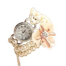 Venta caliente de lujo con resina blanco pulsera de perlas flor colgante de cuarzo reloj de las mujeres visten el reloj reloj montre 2016 femenino femenino