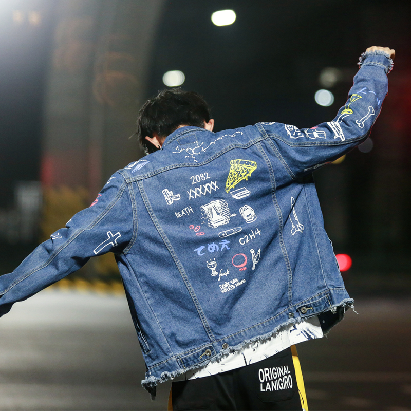 Hip Hop Fashion Printed Jeans Jacket Men Cotton Casual Streetwear Autumn New Denim Jacket Coat For Hip Hop Fashion Printed Jeans Jacket Men Cotton Casual Streetwear Autumn New Denim Jacket Coat For Men