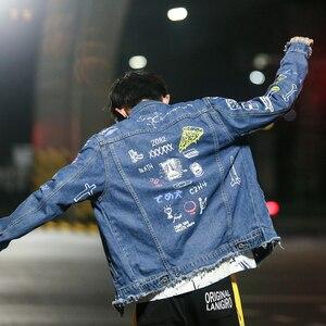 Image 5 - Hip Hop Mode Gedruckt Jeans Jacke Männer Baumwolle Casual Streetwear Kurze Stil Denim Jacke Mantel Für Männer Frühjahr Neue Frauen jacken