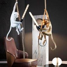 Resin LED SELETTI Pendant Lights White Monkey Nordic Lamp Restaurant Bar Cafe Industrial Decor Lighting Fixtures